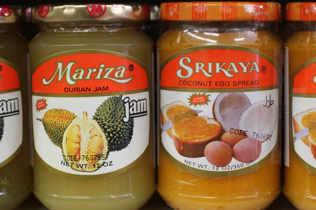 Durian and coconut spreads