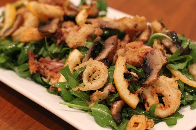calamari mushroom lemon arugula salad