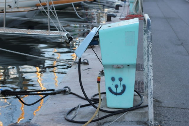 cannes marina smiley face fuel station