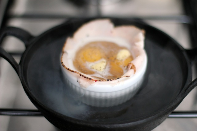 baked eggs in water bath