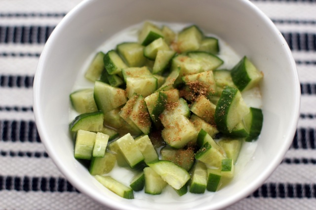 diced cucumber yogurt cumin