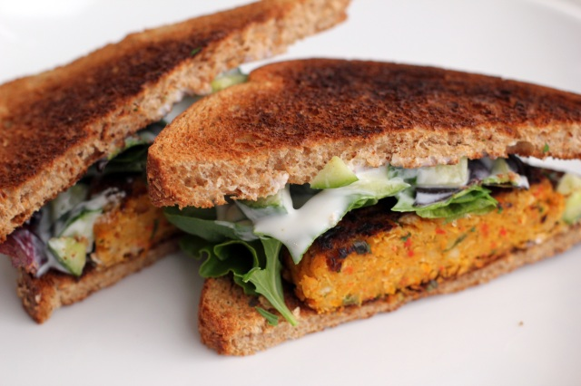 curried chickpea burger sandwich