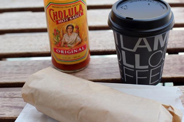 bellissimo venice lamill coffee breakfast burrito cholula hot sauce