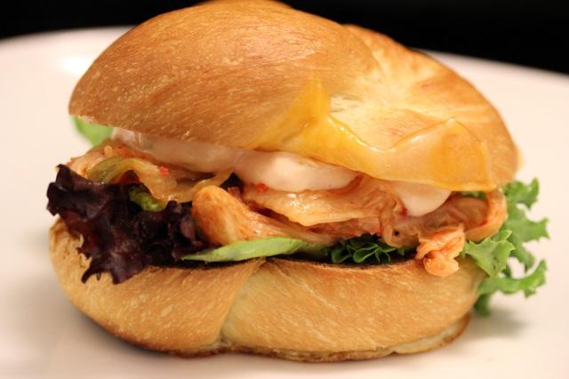 brioche kimchi egg in the basket sandwich