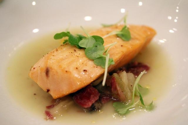 LQ@SK poached salmon ham hock bouillon