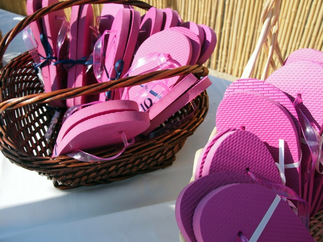 brooke & jon's wedding pink flip-flops