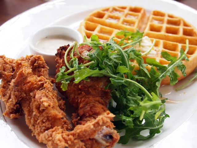 tasting kitchen savory waffle with fried clucks