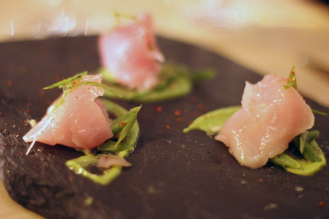 albacore crudo french beans, hazelnut, scallion, white soy, ginger snow