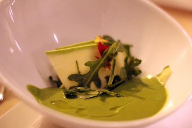 summer squash, chilled soup, shaved salad