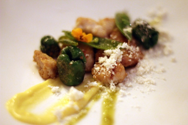 sweetbreads, padron peppers, corn pudding, brown butter, yuzu kosho
