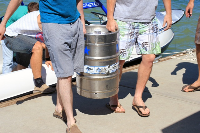 carrying a keg of scrimshaw