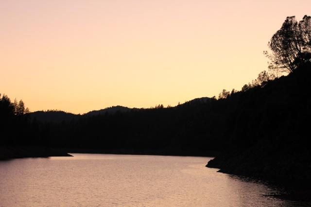 shasta lake at dusk