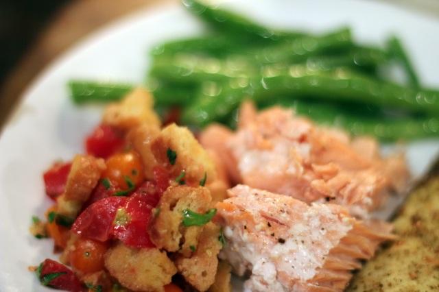 panzanella salmon green beans