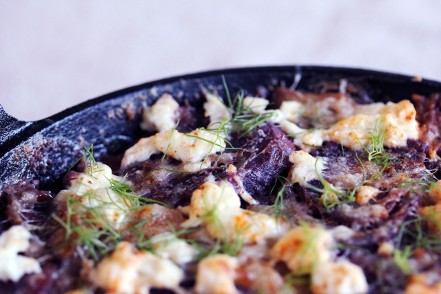 purple potato gratin with fennel mushrooms goat cheese