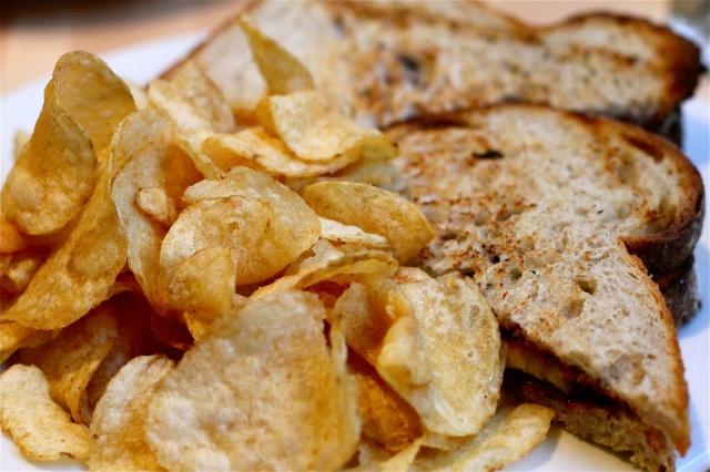 Olympic Provisions Nocciolata, house preserves, banana sandwich & chips