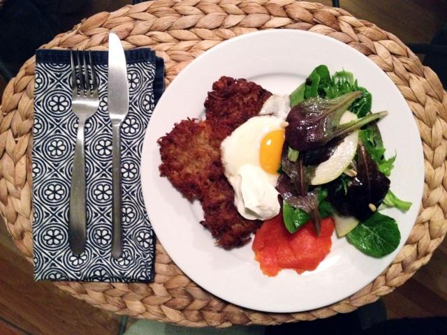 plate of latke lox egg salad