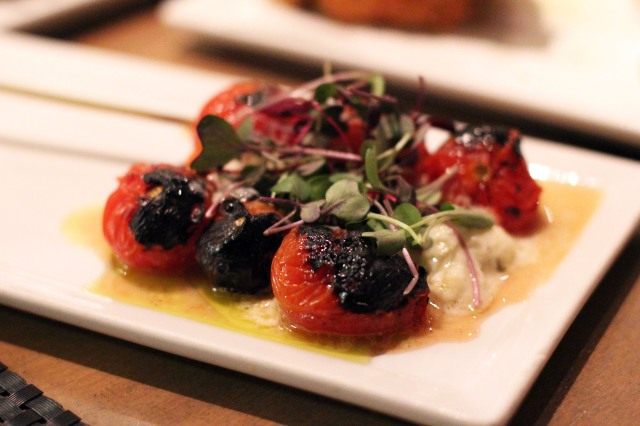 picca los angeles anticucho tomatoes burrata black mint pesto