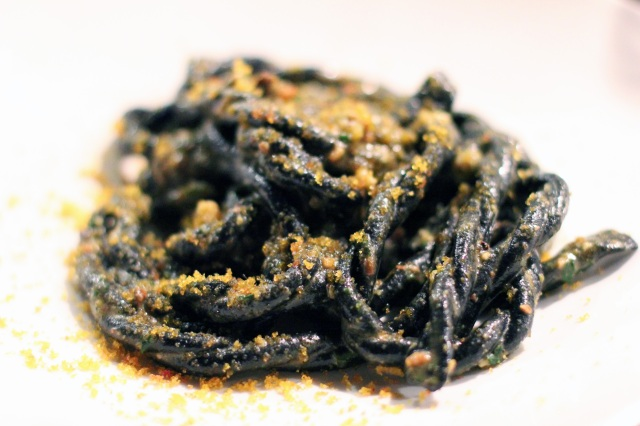 squid ink fusilli lunghi pistachios bottarga mint