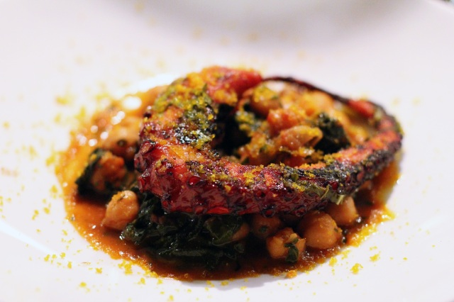 sotto restaurant tomaio braised octopus ai ferri chickpeas preserved lemon chard bottarga