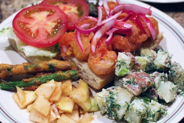 shrimp po boy potato salad kohlrabi kimchi