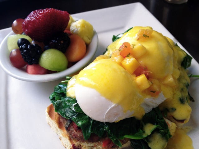 lobster crab cake benedict larchmont bungalow los angeles