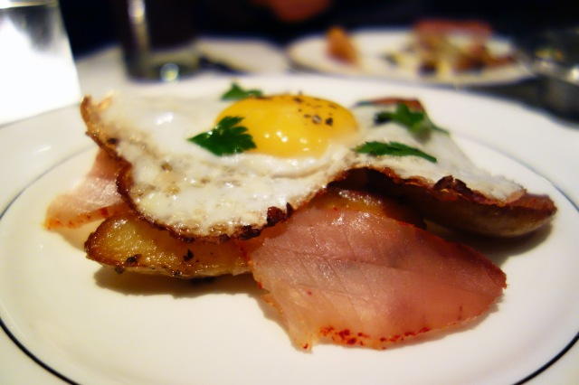the parish los angeles mojama truffled fingerling potato fried duck egg